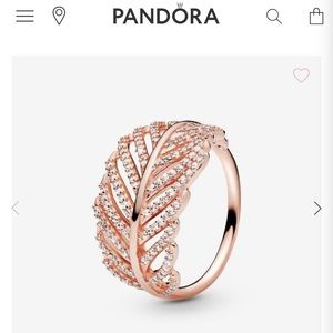 Rose Gold Pandora Feather Ring